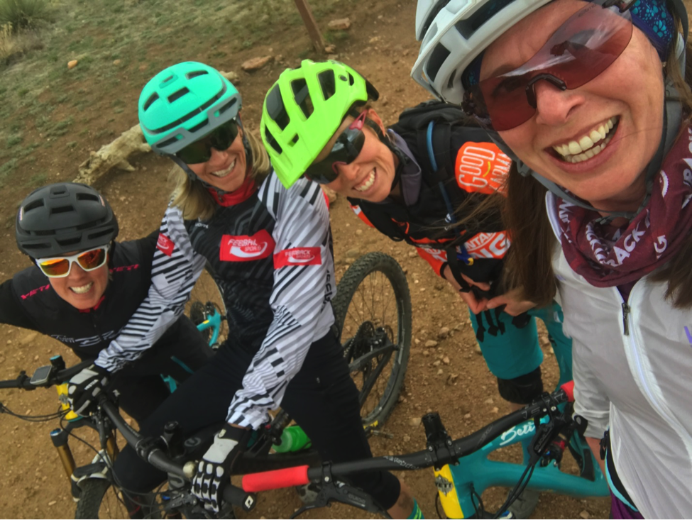 Photo Credit: Jessica Conner. Friday lunch rides kept getting bigger and bigger. L to R: Amy Thomas, Lisa Hudson, Kate Yancey, and Me