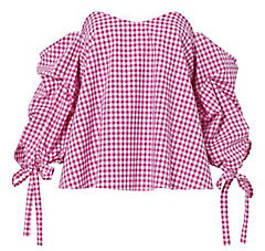 RED GINGHAM PRINT OFF THE SHOULDER TOP