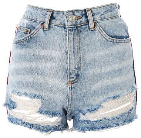 TOPSHOP MOTO AMERICAN FLAG SPLICE MOM SHORTS