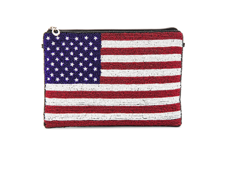 AMERICAN FLAG BEADED CLUTCH