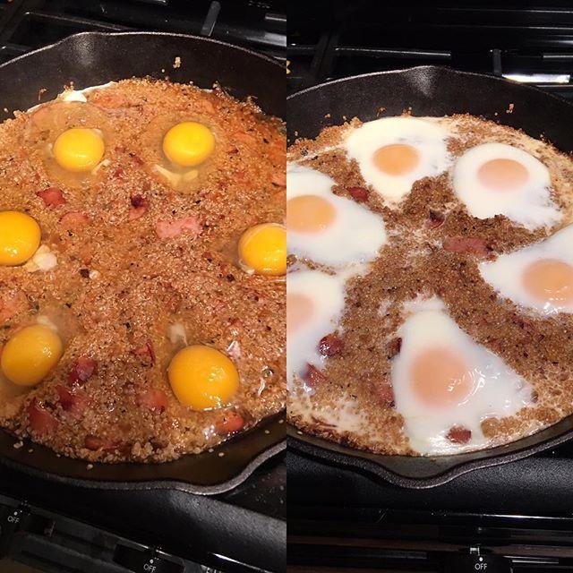 Chicken Sausage Quinoa Egg Bake thanks to @serenagwolf Gotta get #thedudediet book! #cooking #food #eggs #quinoa #egg #chicken #castiron #salsa #coachbert #nutrition #gainz  #menwhocook #coach #trainer #hungry  #getinmybelly