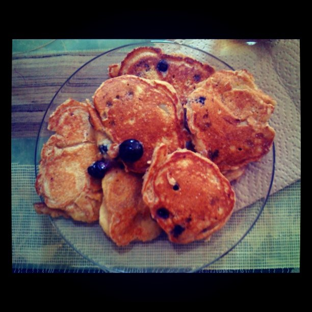 Baby blueberry banana pancakes (tip: coconut oil great for high heat)…..yum! (Taken with instagram)