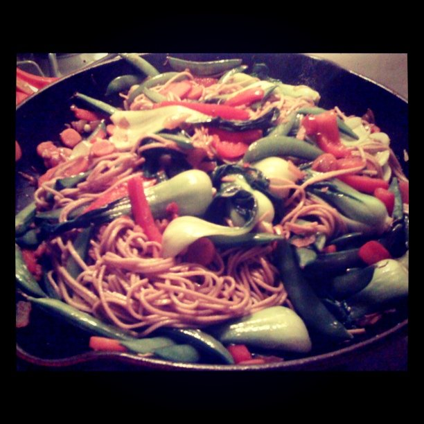 I like noodles. Soba noodles stir fried with veggies! Bon Apetit. (Taken with instagram)
