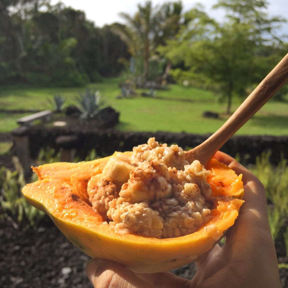 Papaya bowl with oatmeal, chia seeds, banana, macadamia nuts and cinnamon