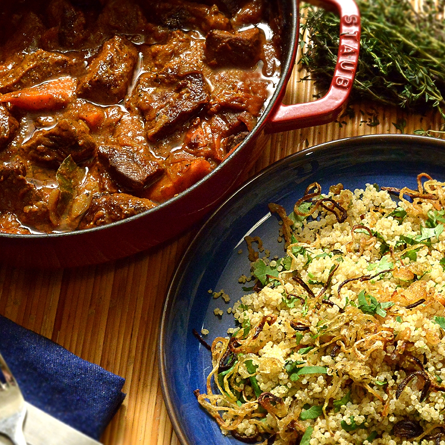 Beef Stew Recipe with Crispy Onion Vegan Quinoa Side Dish