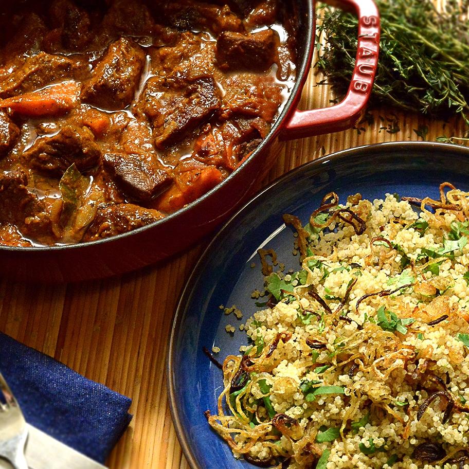 Beef Stew Recipe with Crispy Onion Vegan Quinoa Side Dish