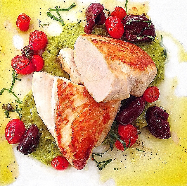 Roast Chicken Recipe with Basil Hummus, Tomato & Olives