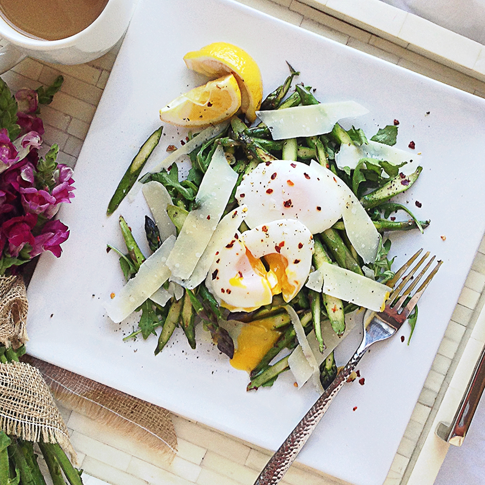 Poached Eggs w Asparagus, Arugula & Parmesan by Chef Mike Ward