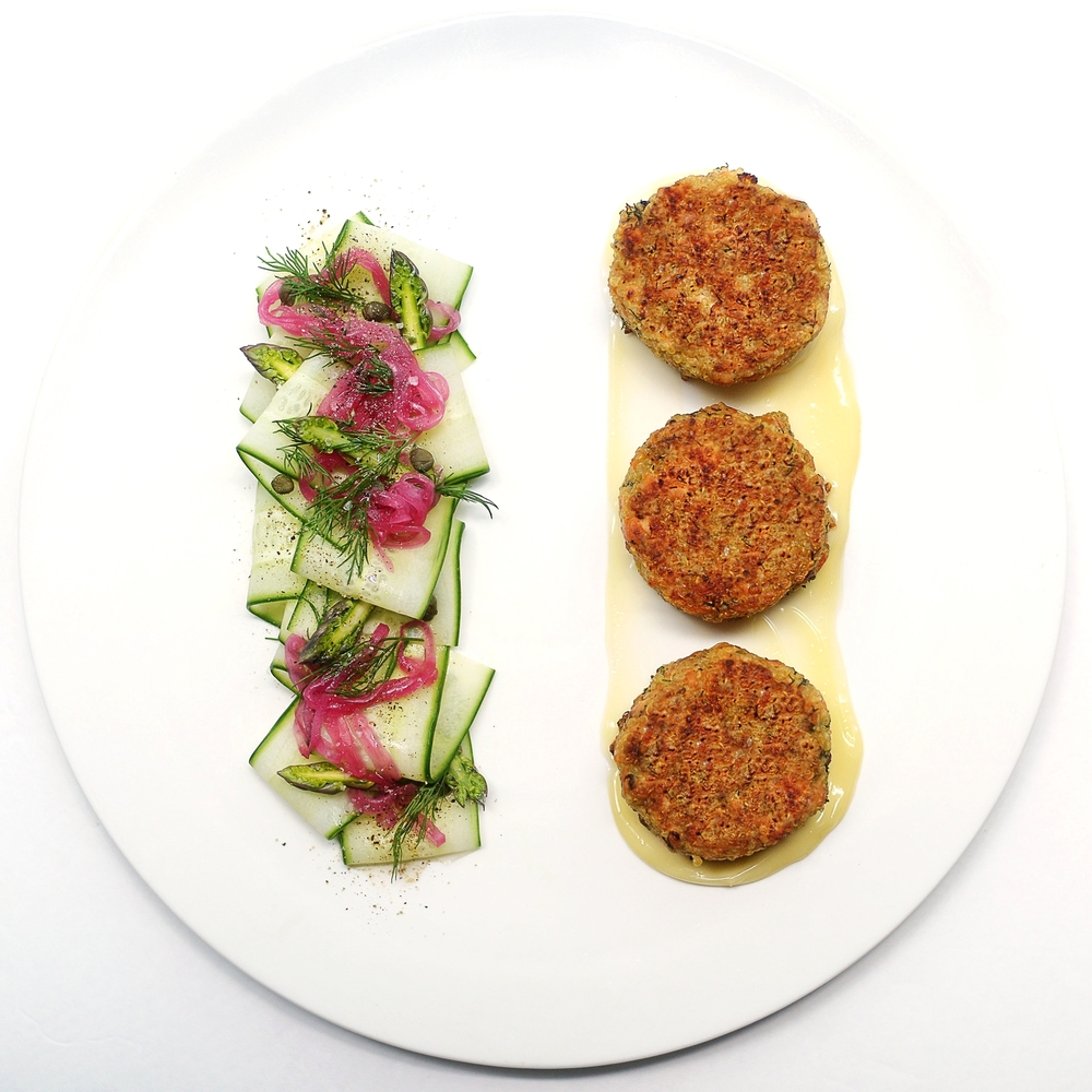 Chef Mike Ward's Salmon and Quinoa Cakes recipe with Caper Mayonnaise.