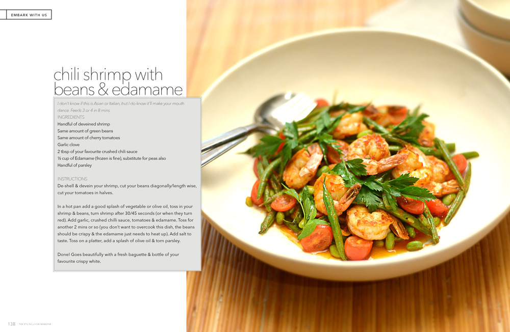 Chili Shrimp w Edamame and Beans - Embark magazine