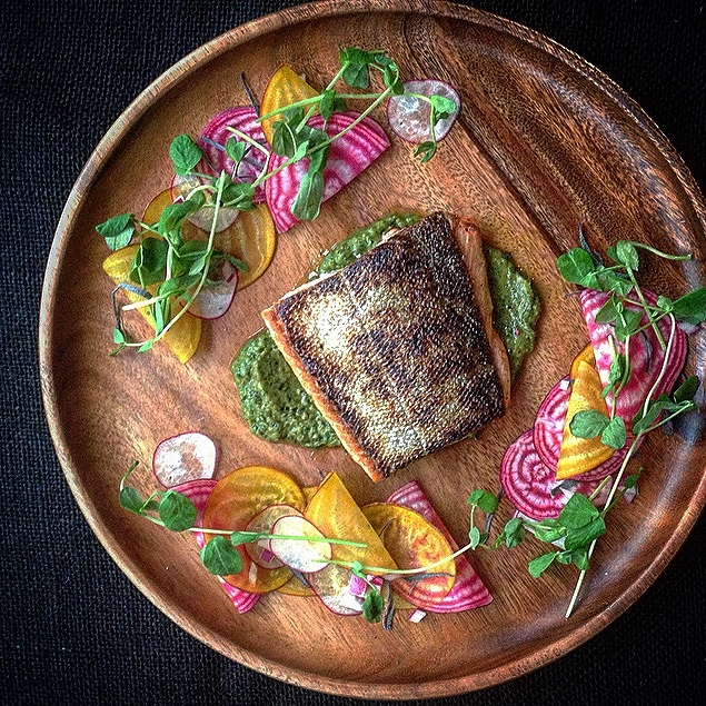 Rainbow Trout w Arugula Pesto & Quick Pickle Roots by Chef Mike Ward