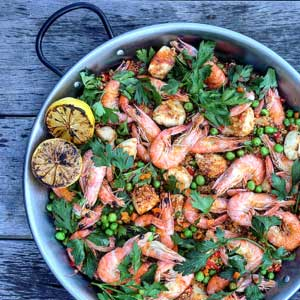 Chicken & Shrimp Quinoa Paella by Chef Mike Ward