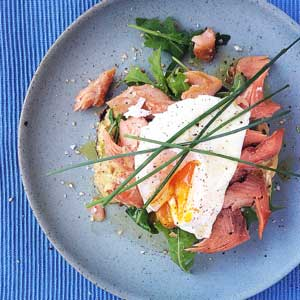 Smoked Trout, Poached Egg w Arugula, Dijon & Chive Toasted Bagel by Chef Mike Ward