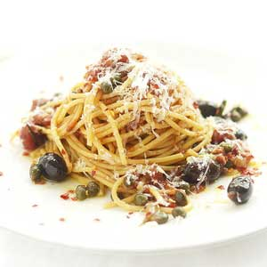 Spaghetti w Roasted Tomatoes, Olives, Balsamic & Capers by Chef Mike Ward