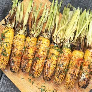BBQ Corn w Butter, Parmesan,Lemon & Tahini