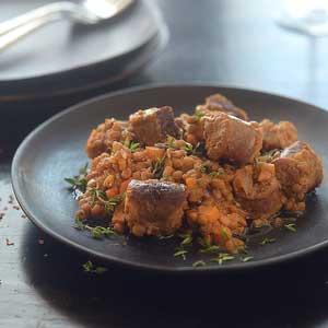 Lentil & Cumin Cassoulet w Sausages