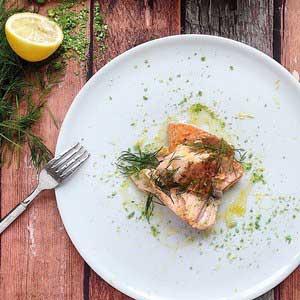 Honey Roasted Salmon w Smashed Wasabi Peas