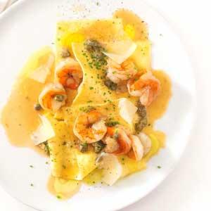 """Shrimp, Wine & Caper """"Open-Concept"""" Lasagna"""