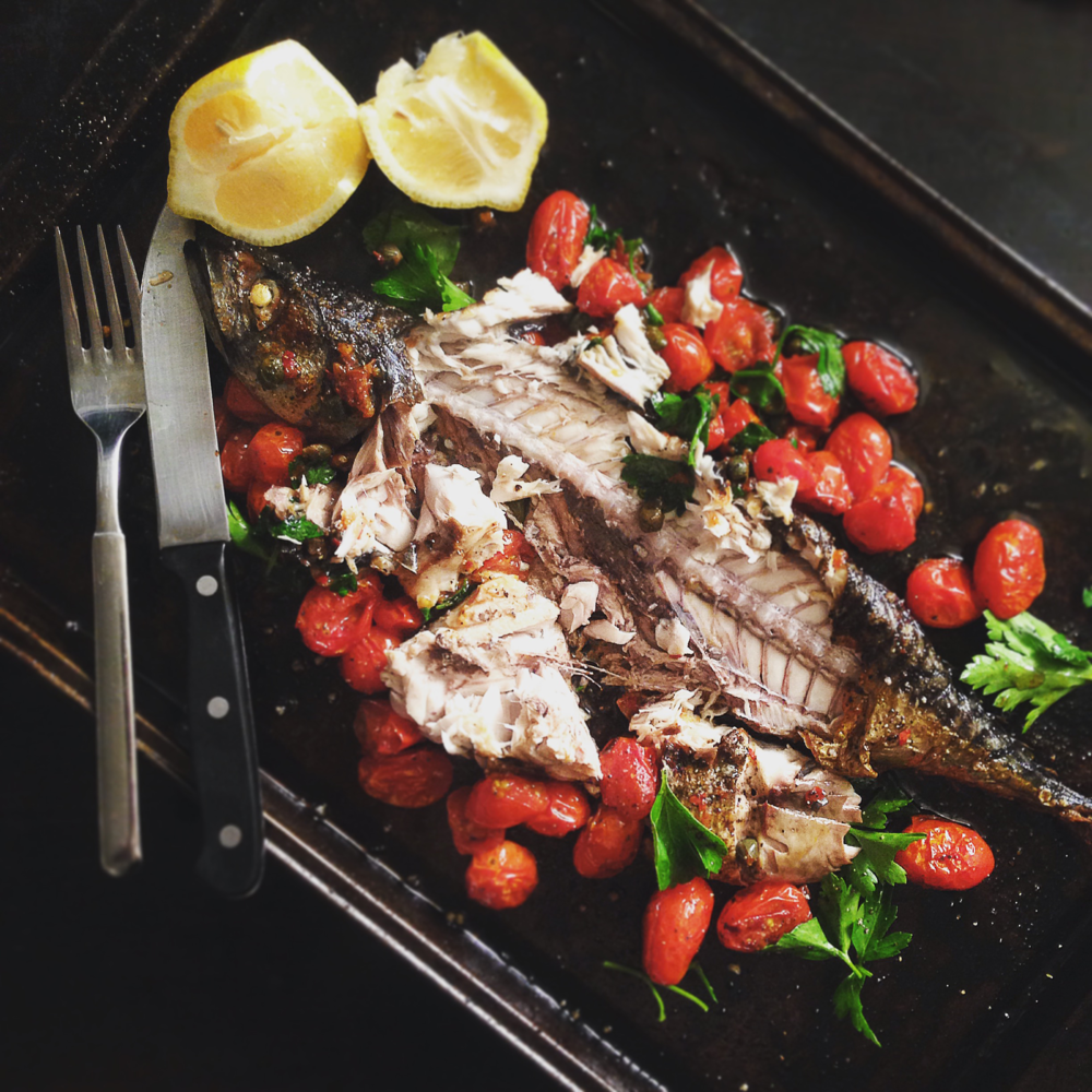 Grilled Mackerel w Tomatoes, Capers, Garlic & Parsley by Chef Mike Ward