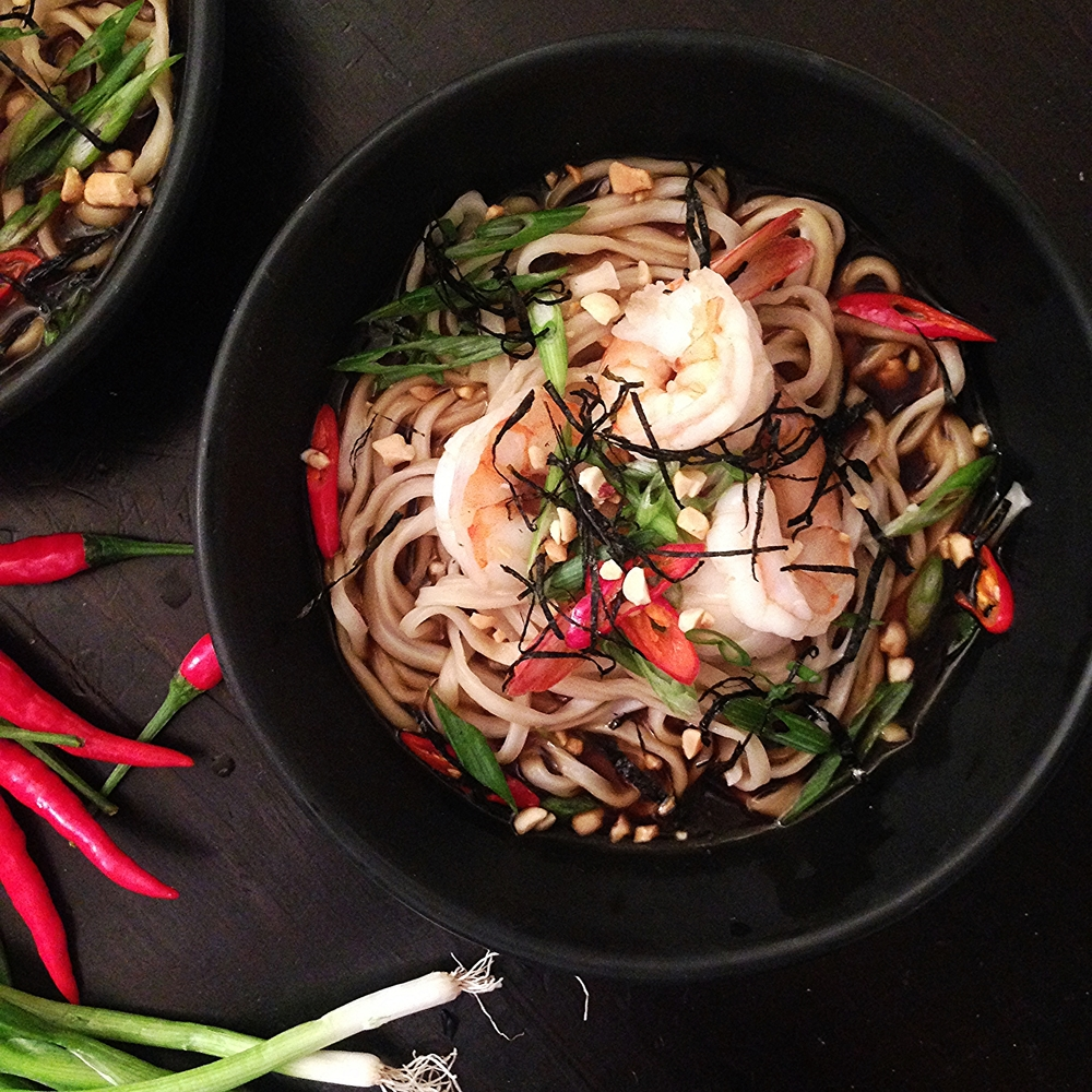 Shrimp w Noodles in Spicy Nori Broth Chef Mike Ward