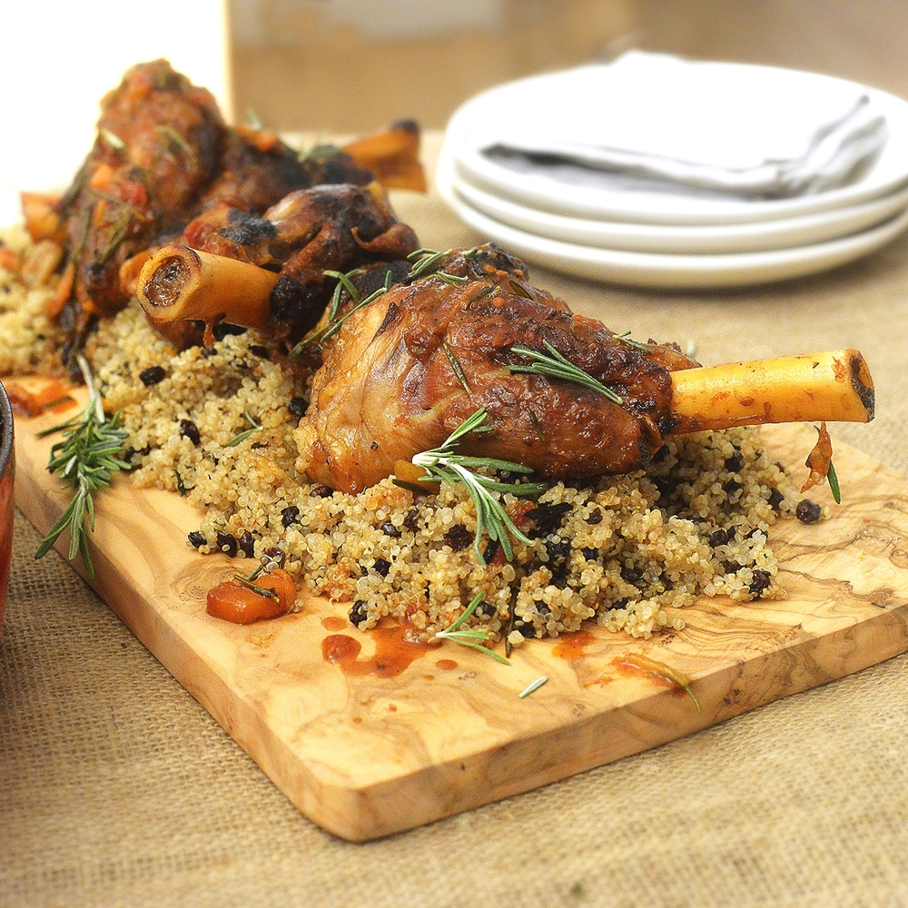 Lamb Shanks with Mint Raisin Quinoa by Chef Mike Ward