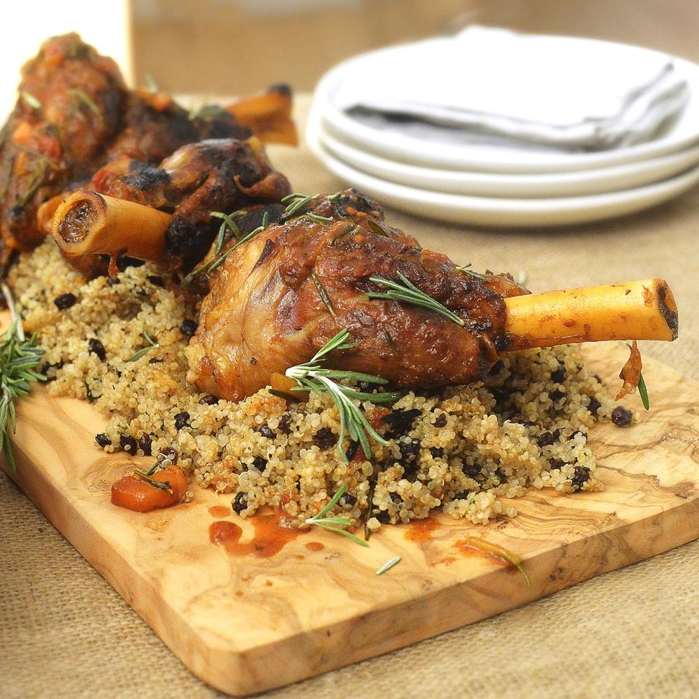 Lamb Shanks with Mint Raisin Quinoa by Chef Mike Ward