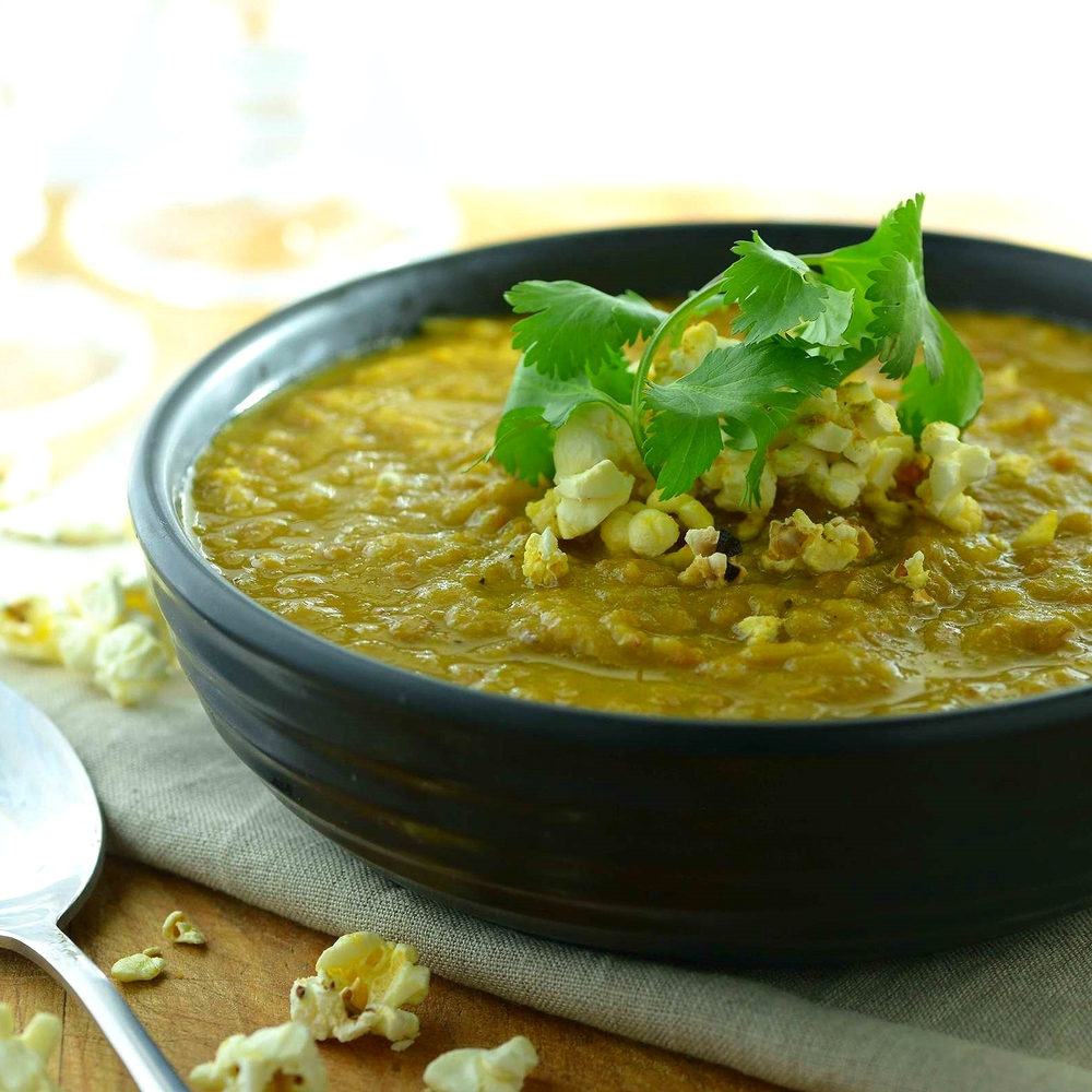 French Onion & Lentil Soup w Curried Popcorn by Chef Mike War
