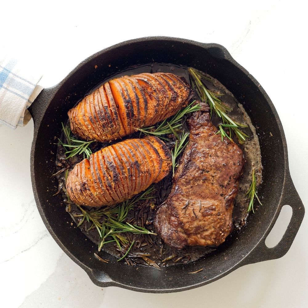 Steak & Hasselback Sweet Potatoes by Chef Mike Ward