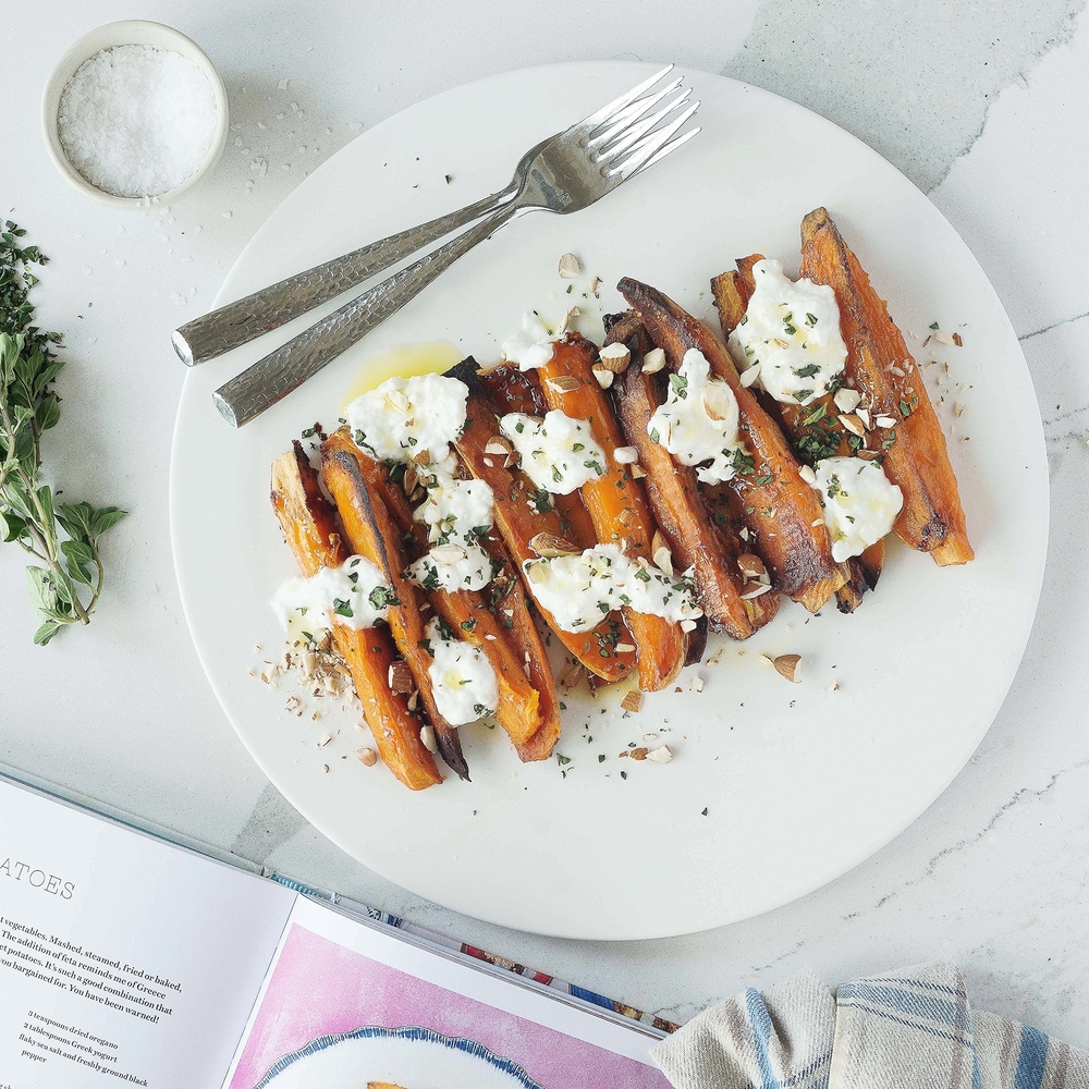 Sweet Potatoes w Feta & Almonds by Chef Mike Ward