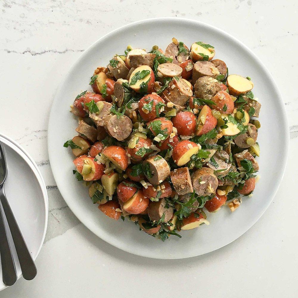 Sausage & Potato Salad w Cornichon & Walnuts by Chef Mike Ward
