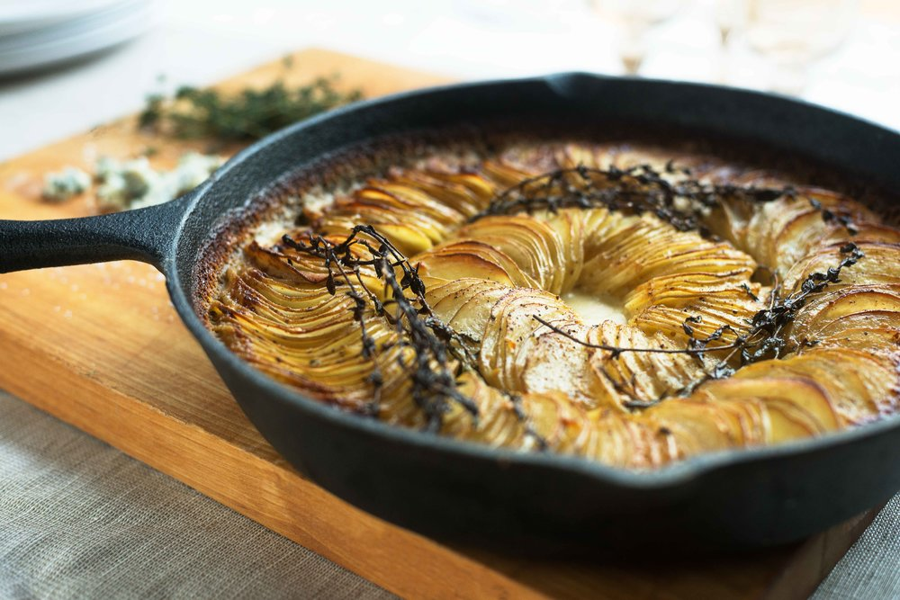 Blue Cheese, Garlic & Thyme Potato Gratin by Chef Mike Ward