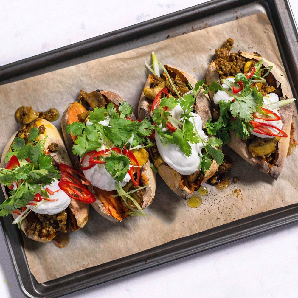 Sweet Potatoes w Curried beef, Mushrooms & Sour Cream by Chef Mike Ward