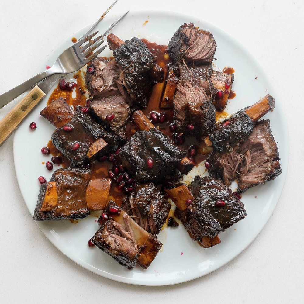 Chinese Sticky Beef Short Ribs w Pomegranate by Chef Mike Ward