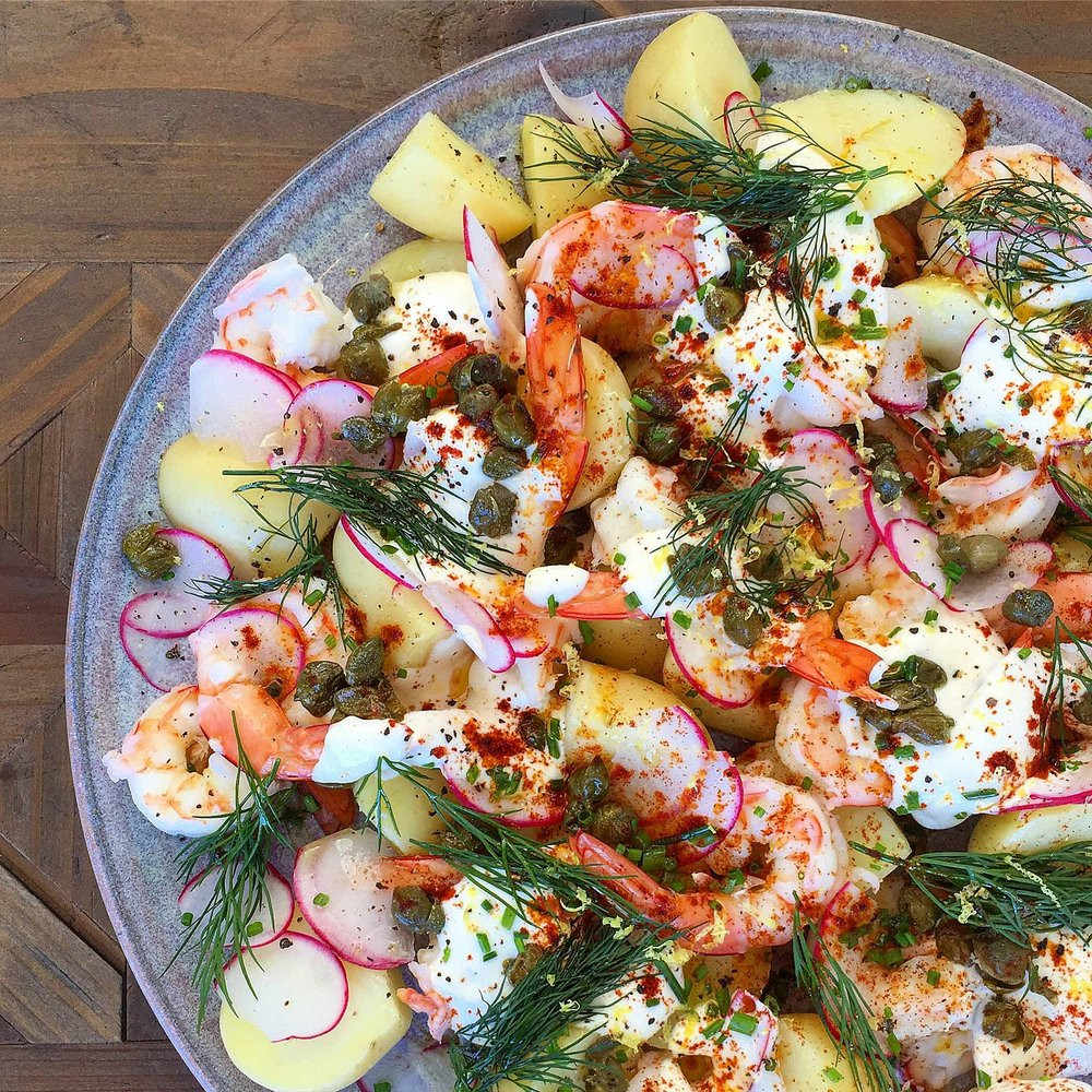 Potato & Prawn Salad w Lemon Yoghurt, Capers & Radish by Chef Mike Ward