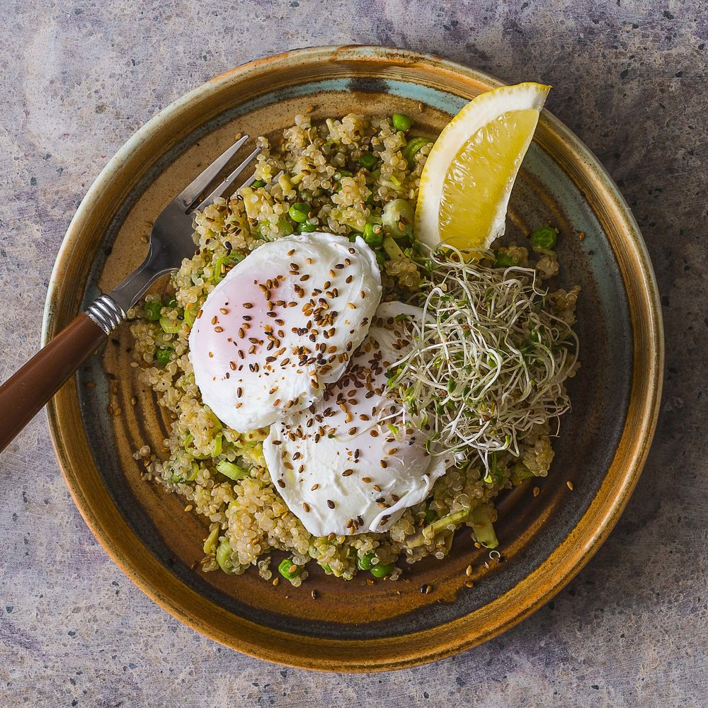 Peas, Green Onion, Avocado, Quinoa & Poached Eggs by Chef Mike Ward