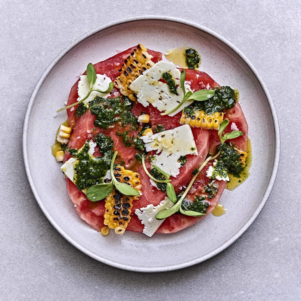 Watermelon, Charred Corn, Feta & Spiced Basil Oil by Chef Mike Ward