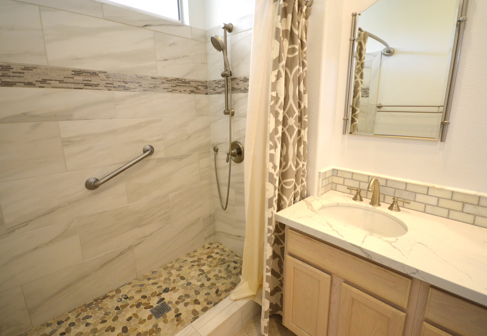 These Stunning Bathroom Remodels In Santa Maria Featured A Kohler  Bellwether Bathtub, A Beautiful Calacatta Laza Quartz Countertop, A Caxton  Oval ...