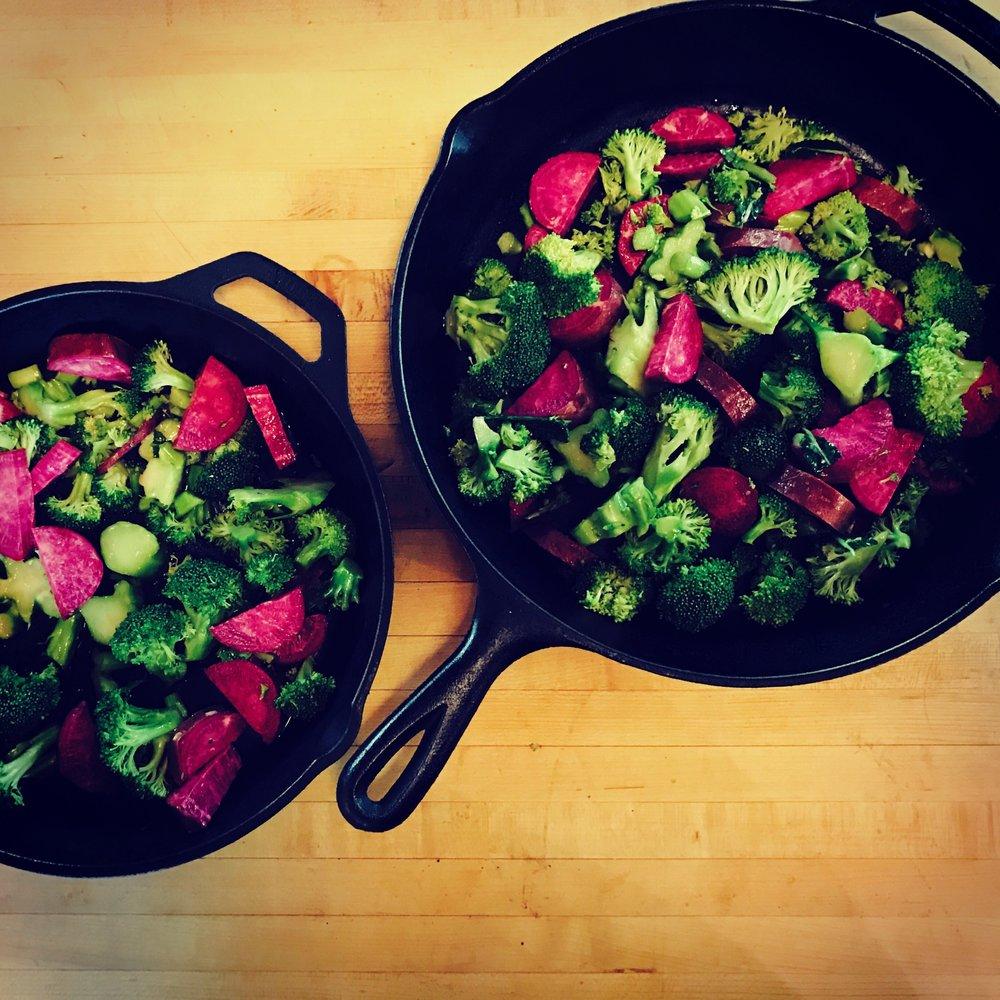 roasted purple sweet potatoes and broccoli with meyer lemons and