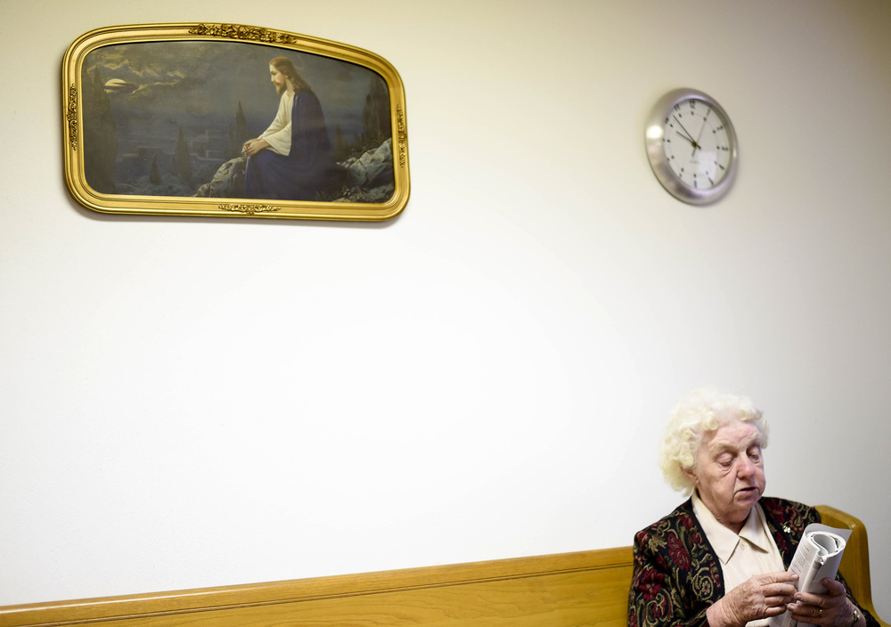 Mary Ballew, 80, is one of three at Sunday School at the United Methodist Church in Slater, Mo., on November 16, 2014. Ballew is a retired custodian from Slater High School where she worked for over 20 years.