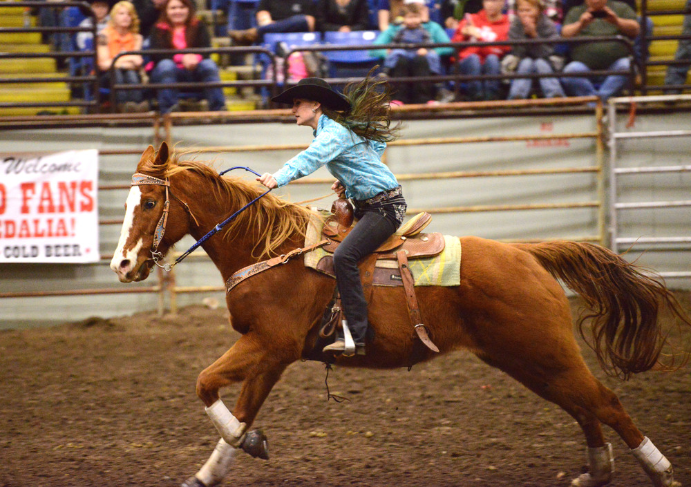 Amee races on her horse Banjo at a rodeo in Sedalia, Mo. When she isn't racing, she's at school or working at Boonslick Animal Hospital. Amee says her dad wants her to be a vet, but after working for one, she doesn't think that's what she wants to do.