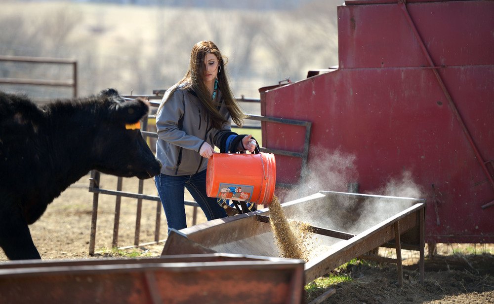 "Amee feeds cattle at her home before leaving for a rodeo. ""My dad won't say I do a lot (on the farm), but I do,"" Amee says. ""I do some."" When her friends need assistance with barrel racing, they come over to Amee's so she can help them out."