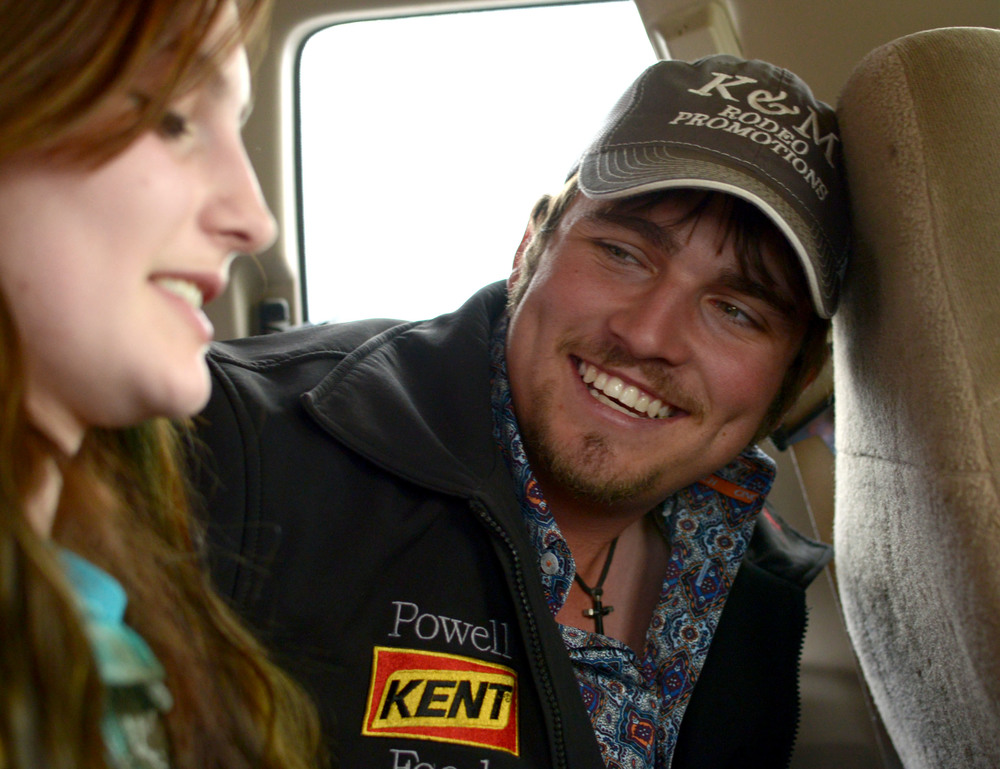 "Amee and her friend Jonathan ""Possum"" Gibson talk while they make their way to a barrel racing competition. Gibson drove from Arkansas to watch her race in Centerview, Mo."