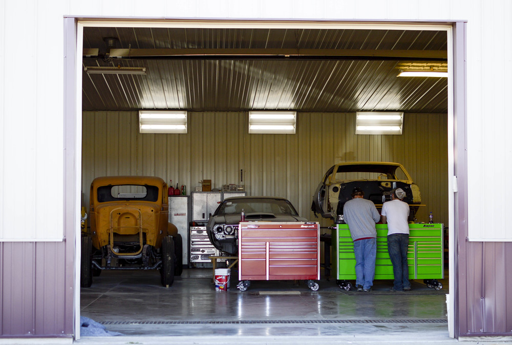 Area 51 Cuztomz is a body shop that rebuilds and restores vintage cars in Marshall, Mo. The shop was opened in 2008 by Mick Howard and is managed by his son, Ryan Teel, 26 and James Harden, 34.