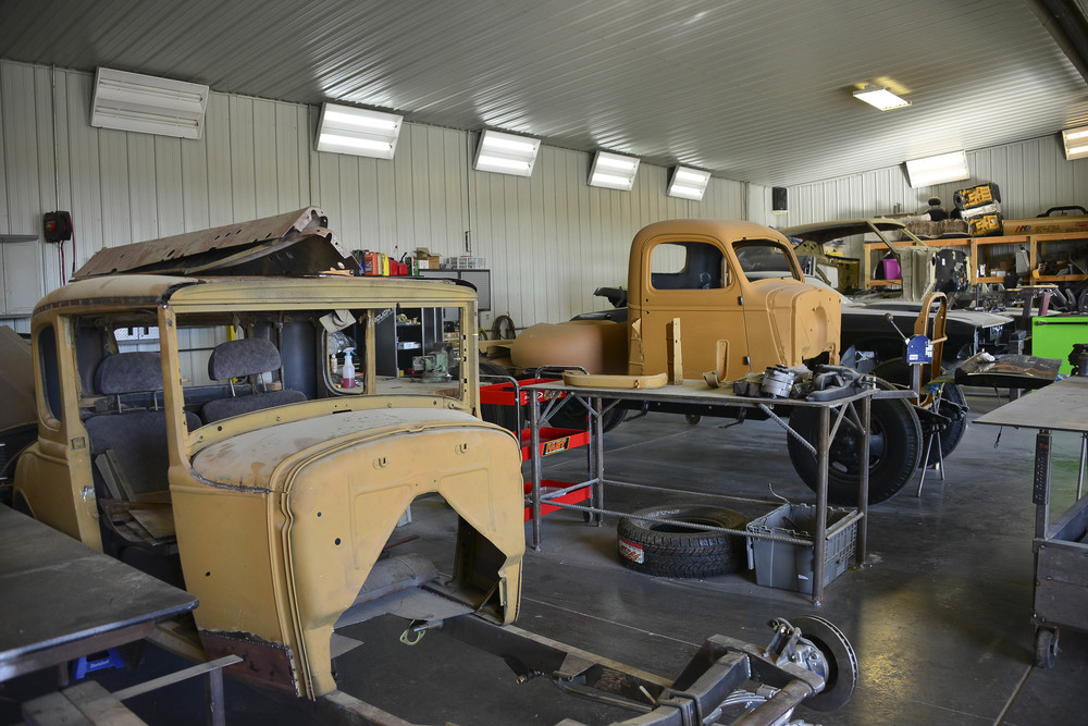 Teel and Harden are able to finish one to two cars per year. There are currently seven vehicles in the shop waiting to be restored. Howard just hired two more employees so they're hoping the production will double.