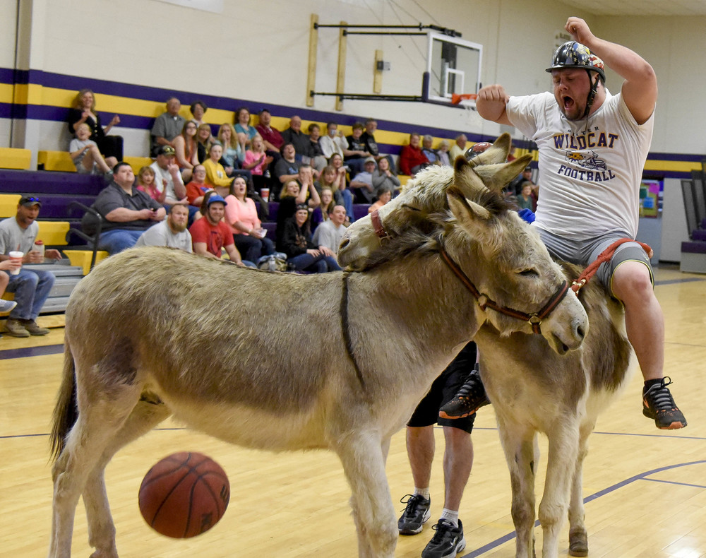 Two donkeys collide after Kyle Lewellen, 25, misses a basket during a game of donkey basketball at Slater High School on March 22, 2015. The game was to raise money for after-prom.