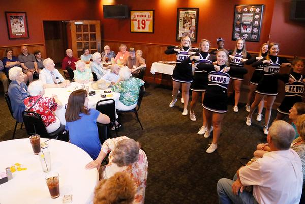 The Hickman High School cheerleaders perform for the Hickman class of 1943 at their 70-year class reunion Friday at D. Rowe's Restaurant & Bar.     |      Quint Smith