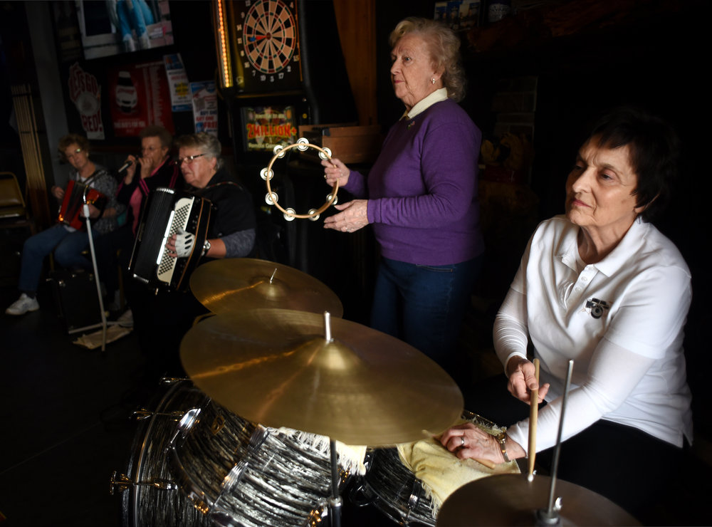 From left, Dianne Whitney, Gloria Blaser, Deb Thompson, LouAnn Hanson and Kathy Whitaker jam with the Junction Jammers at the Junction House on March 9, 2016.