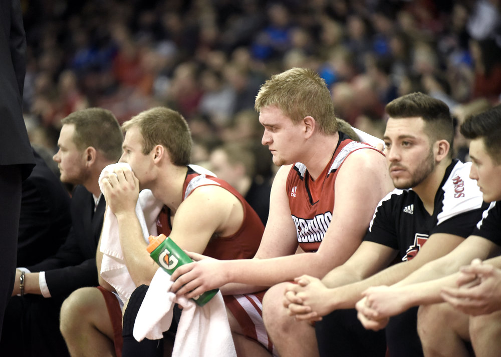 Darlington senior Chad Golackson reacts toward the end of their Divison 4 State Championship game against Destiny at the Kohl Center March 18, 2017.
