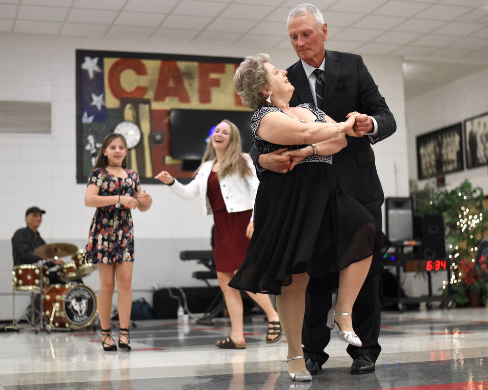 Leanne and John Namio, of Freeport, share a dance during the Senior Citizen Prom at Monroe High School May 6, 2017. The Namios enjoy dancing and often go to dances at Turner Hall which is how they found out about the prom. The two have been married for 47 years.