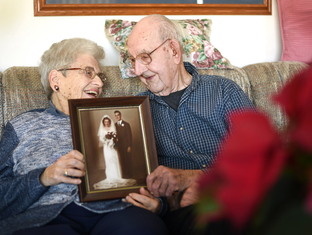 "Dorothy Wild, 91, and her husband Dallas, 93, celebrated their 70th wedding anniversary in September 2015. ""I can't see so good, and he can't hear so good,"" Dorothy said, ""so we make a good pair."""